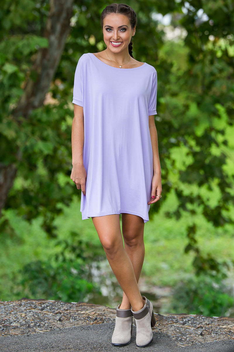 The Perfect Piko Short Sleeve Tunic-Lilac