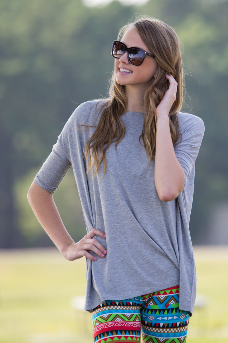 The Perfect Piko 3/4 Sleeve Top-Heather Grey