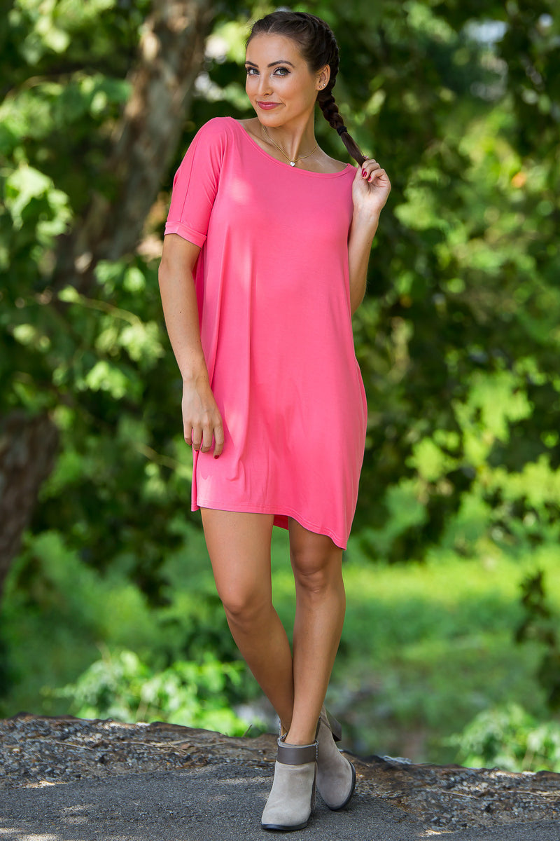 The Perfect Piko Short Sleeve Tunic-Coral