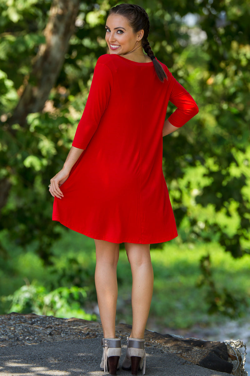 The Perfect Piko 3/4 Sleeve V-Neck Swing Dress-Red