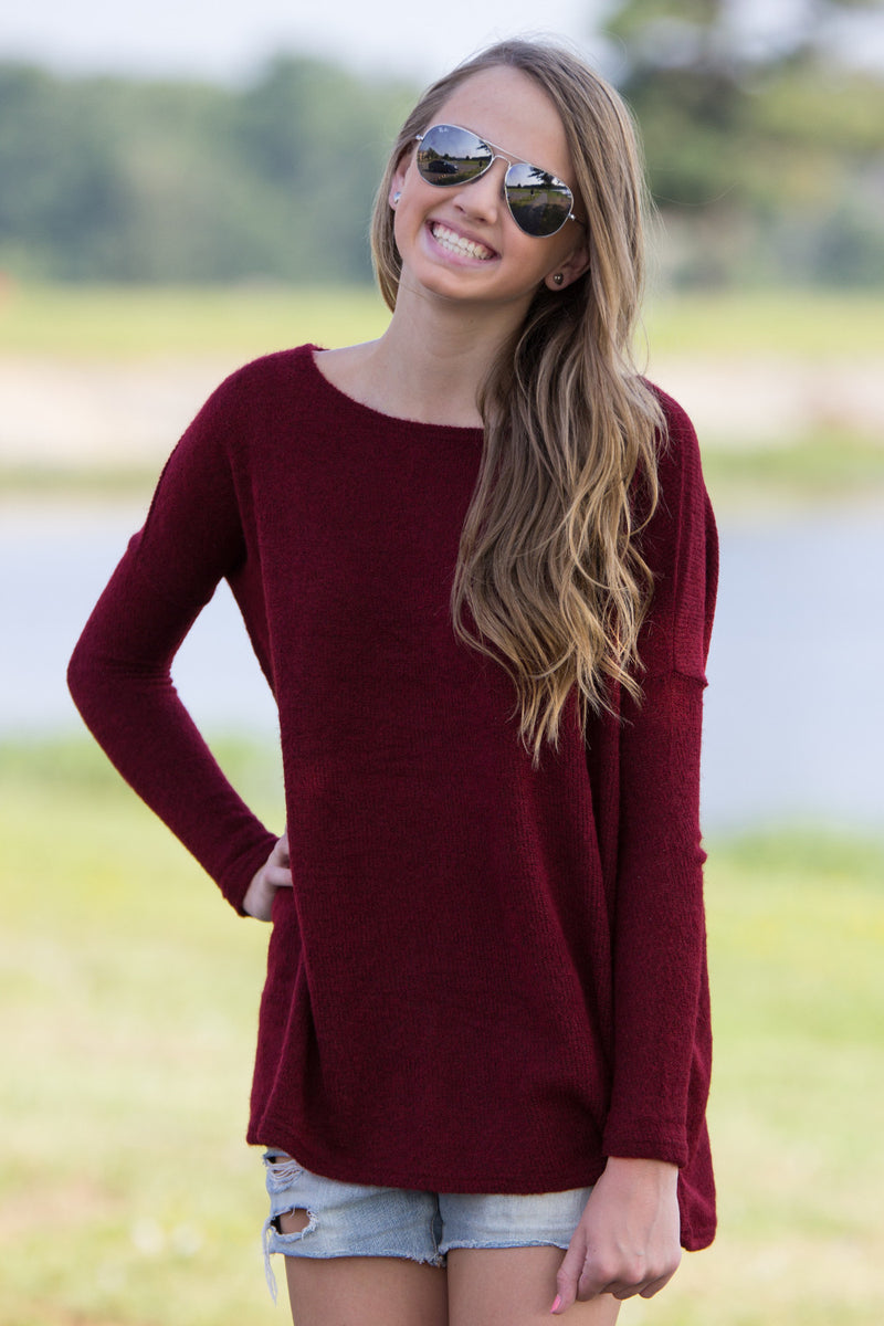 The Perfect Piko Sweater Top-Wine