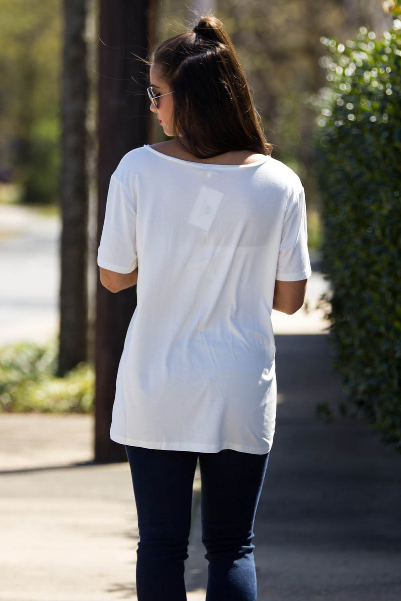 Short Sleeve V-Neck Piko Tee-Off White