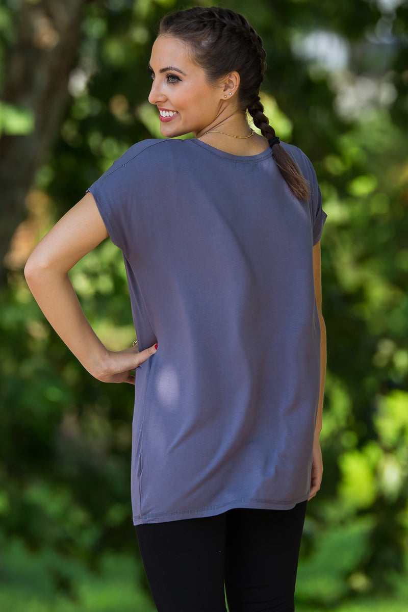 The Perfect Piko Rolled Short Sleeve Top-Charcoal