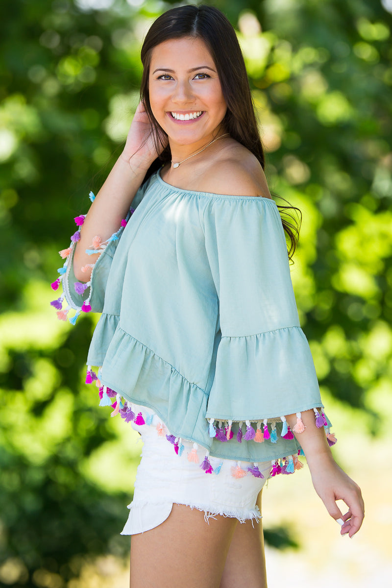 SALE-Shake Your Pom Pom's Top-Sage