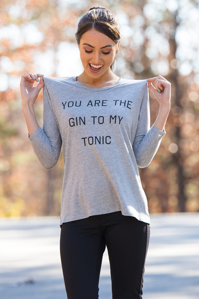 Gin To My Tonic Graphic Tee-Heather