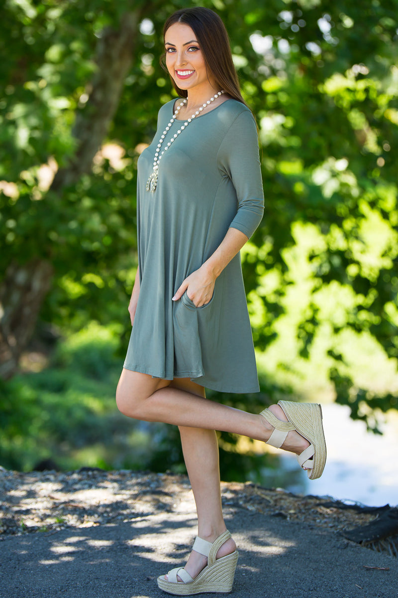 The Perfect Piko 3/4 Sleeve Swing Dress-Olive