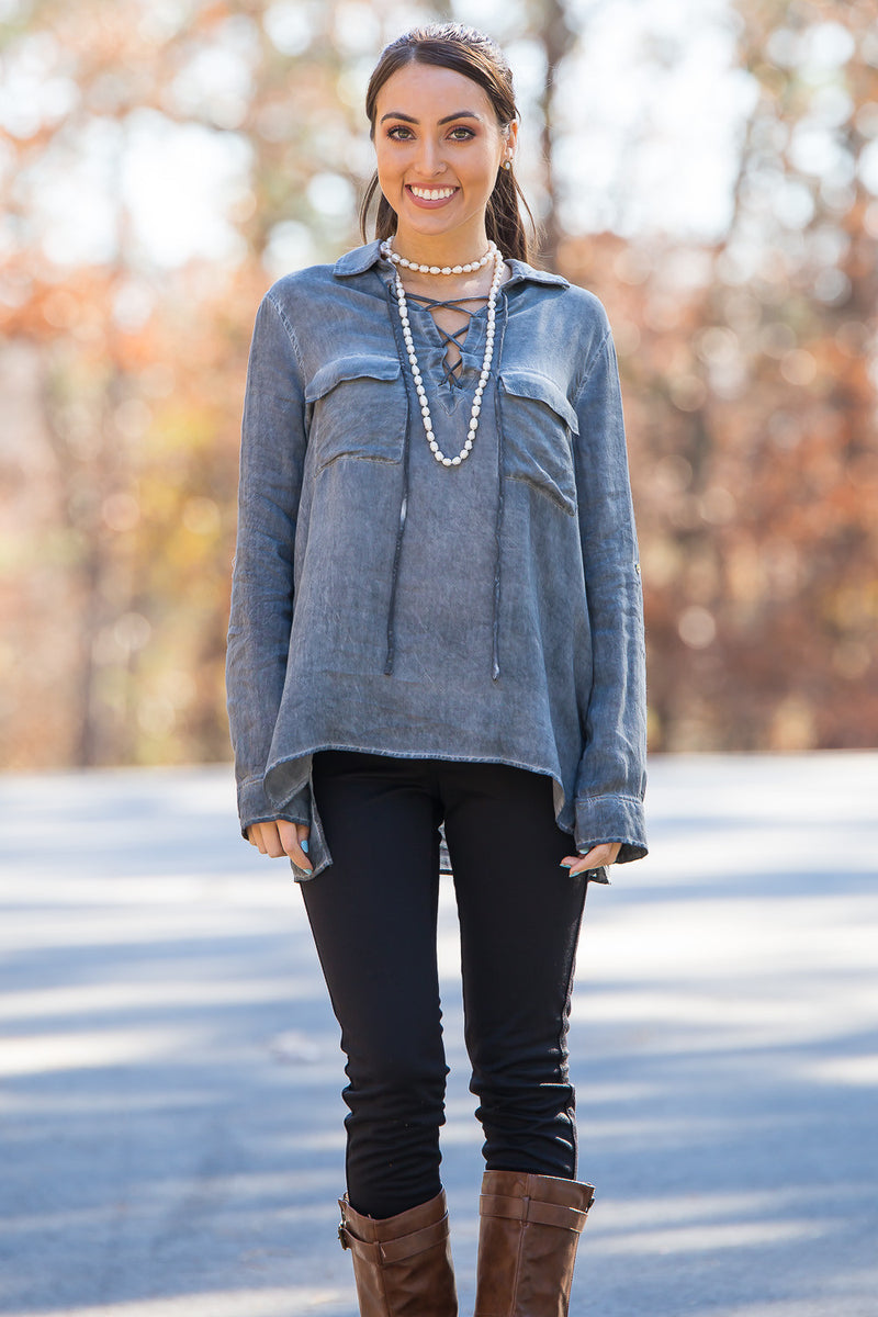 SALE-Faded Glory Top-Charcoal