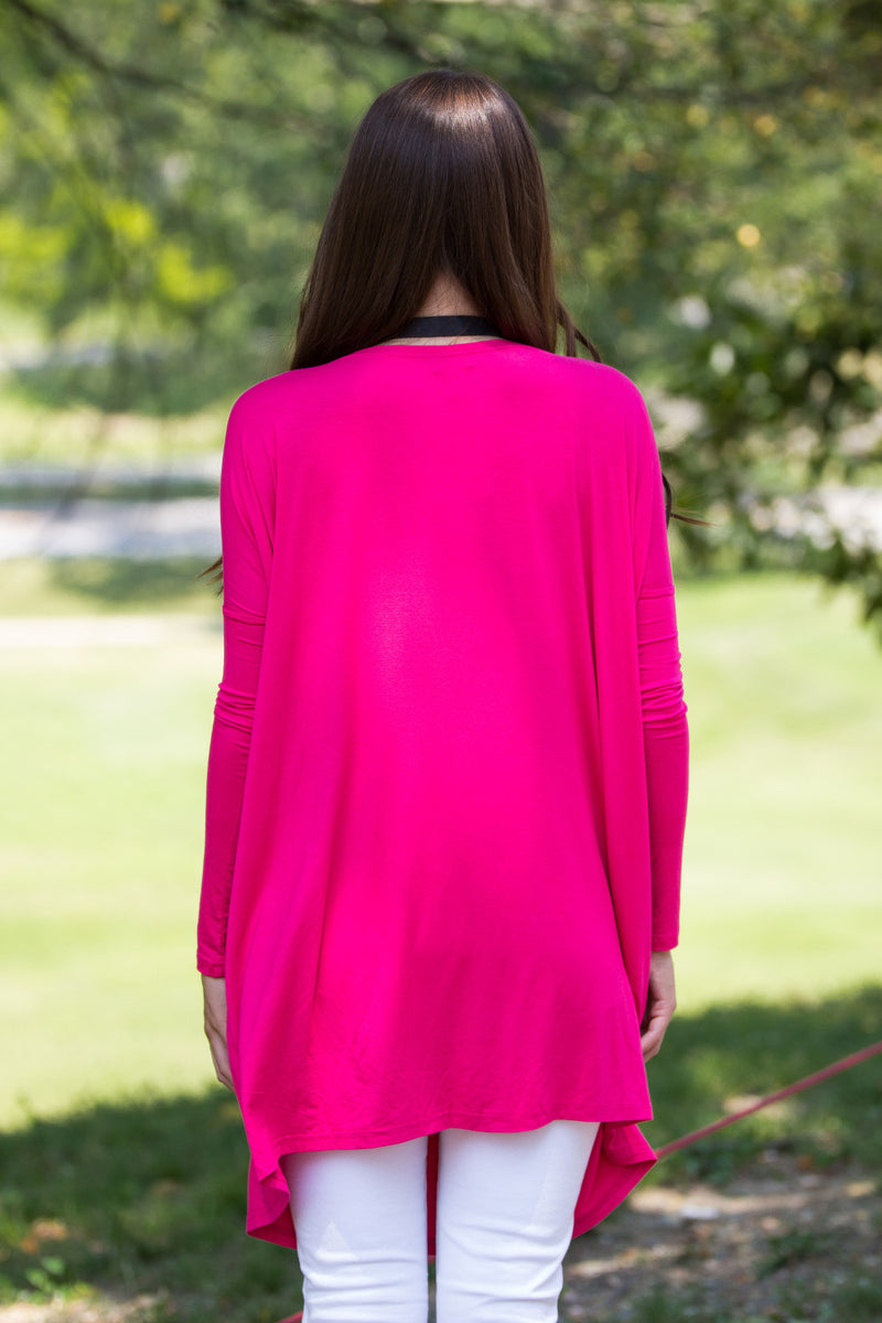 The Perfect Piko Tunic Top-Fuchsia