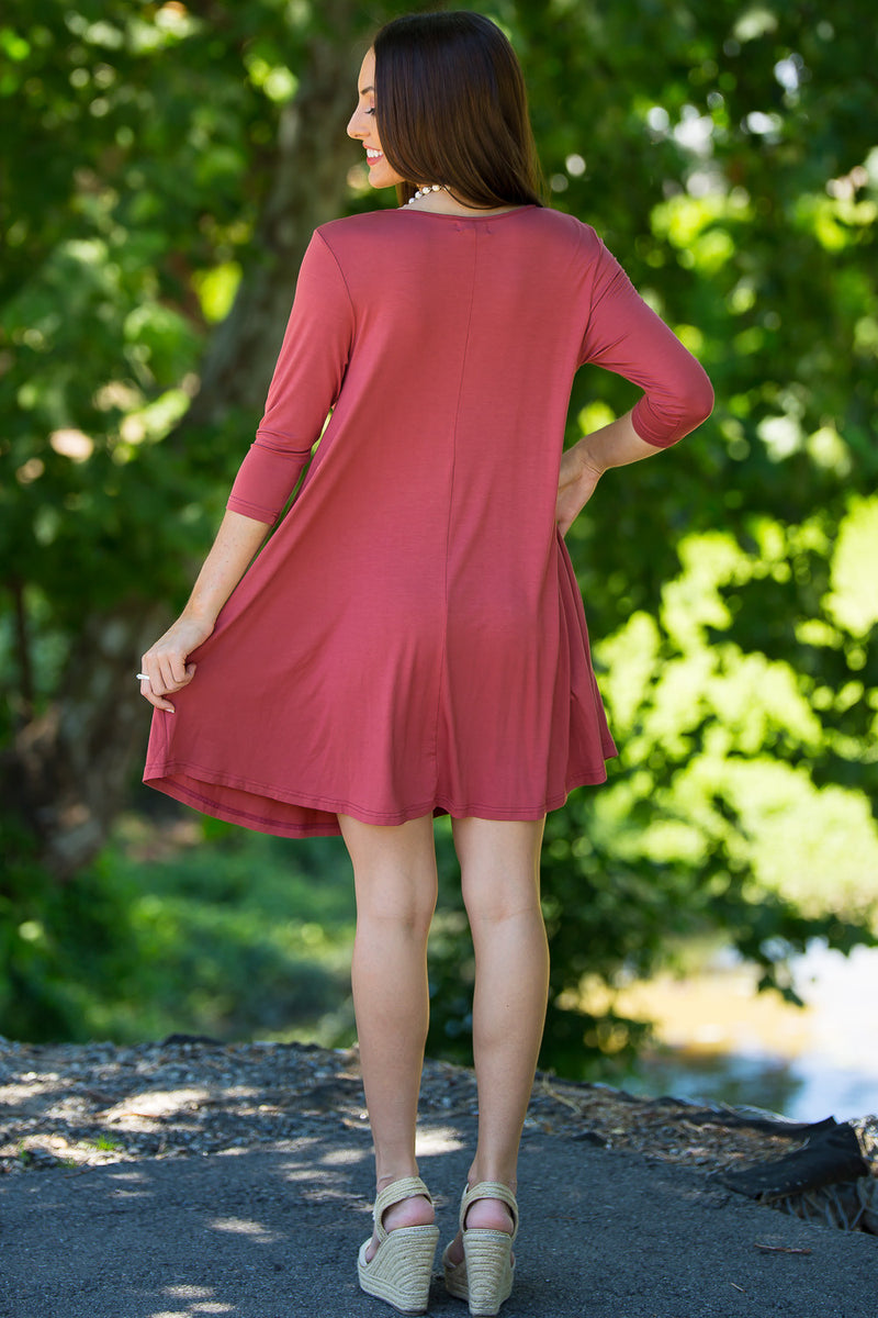 The Perfect Piko 3/4 Sleeve Swing Dress-Marsala