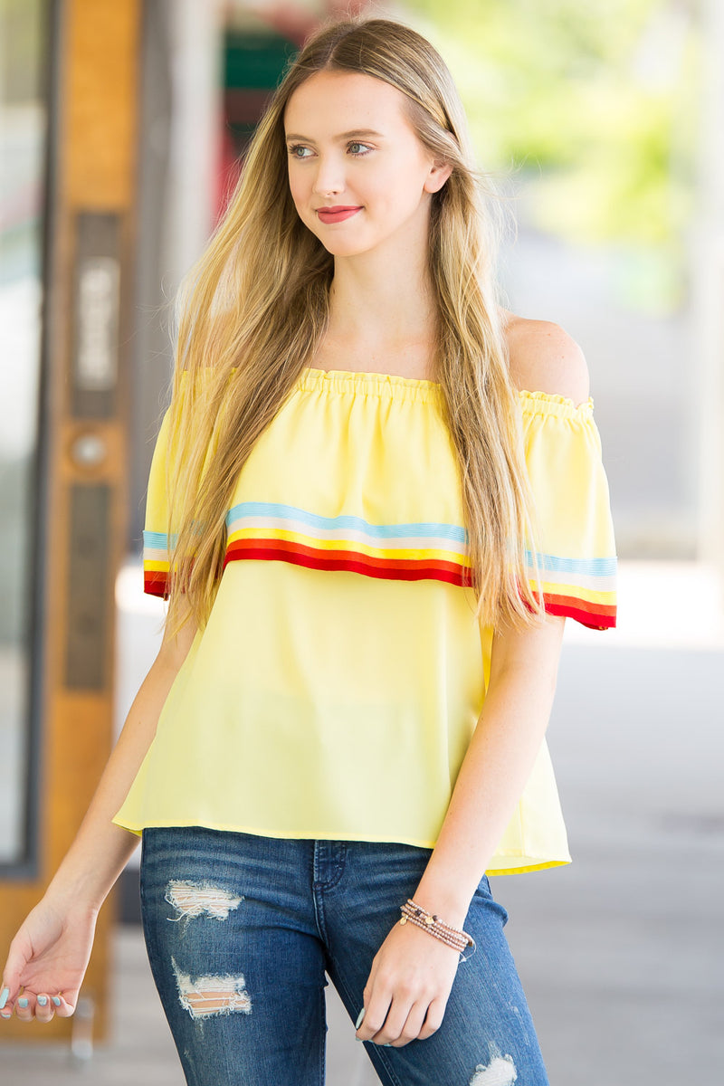 SALE- Sunshine And Stripes Top - Lemon