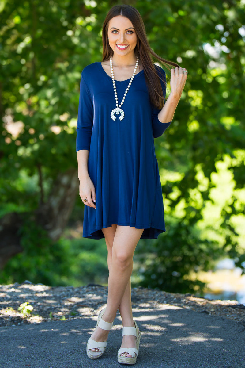 The Perfect Piko 3/4 Sleeve V-Neck Swing Dress-Navy
