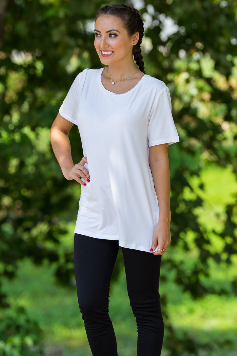 Short Sleeve Round Neck Piko Tee-Off White