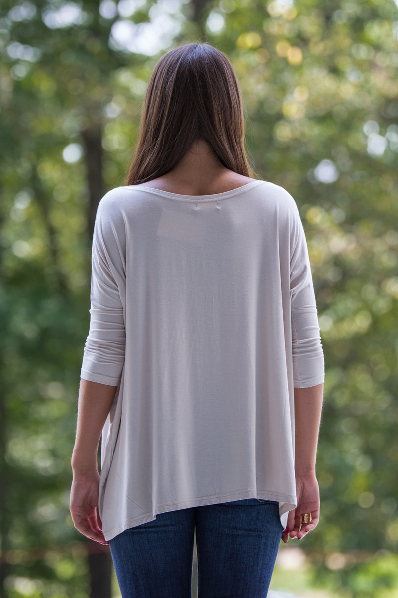The Perfect Piko 3/4 Sleeve Top-Beige