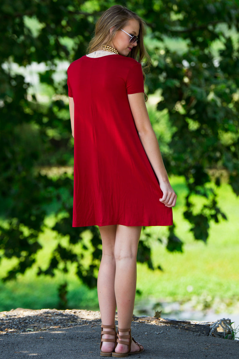The Perfect Piko Short Sleeve Swing Dress-Burgundy