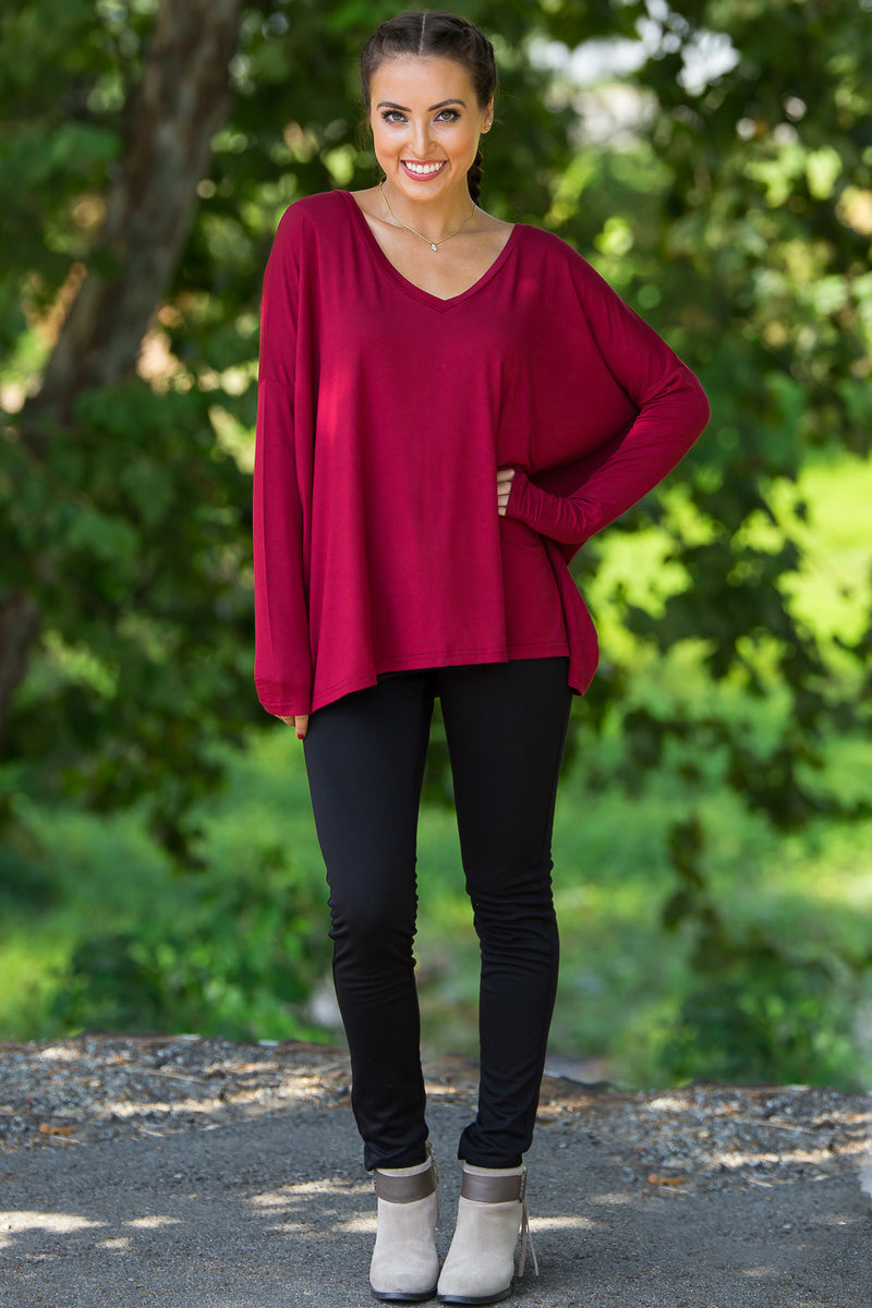 The Perfect Piko V-Neck Top-Wine