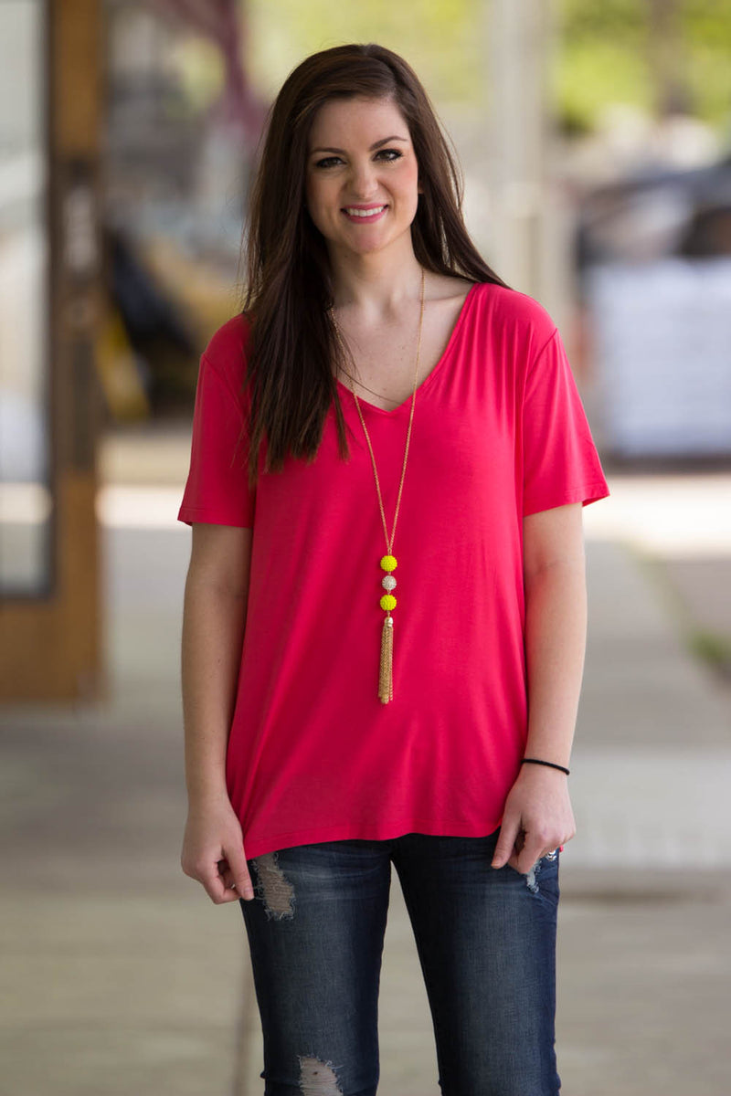 Short Sleeve V-Neck Piko Tee-Watermelon