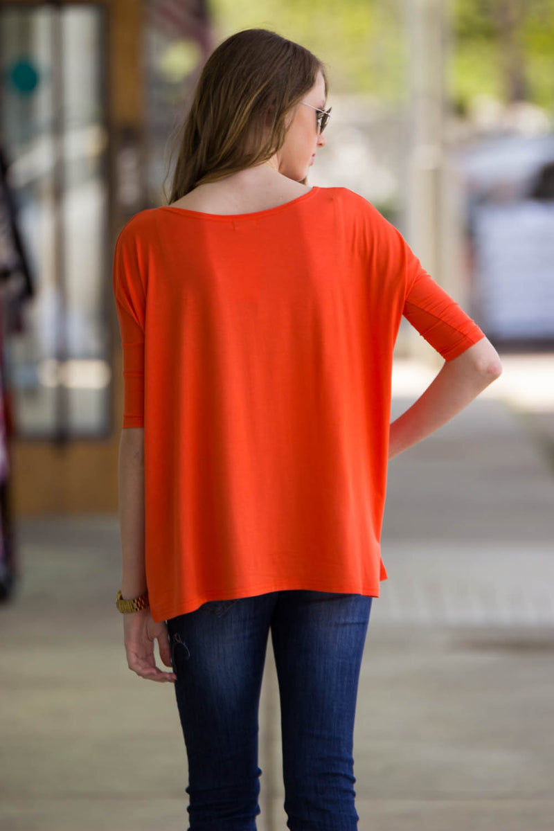 The Perfect Piko 3/4 Sleeve Top-Orange