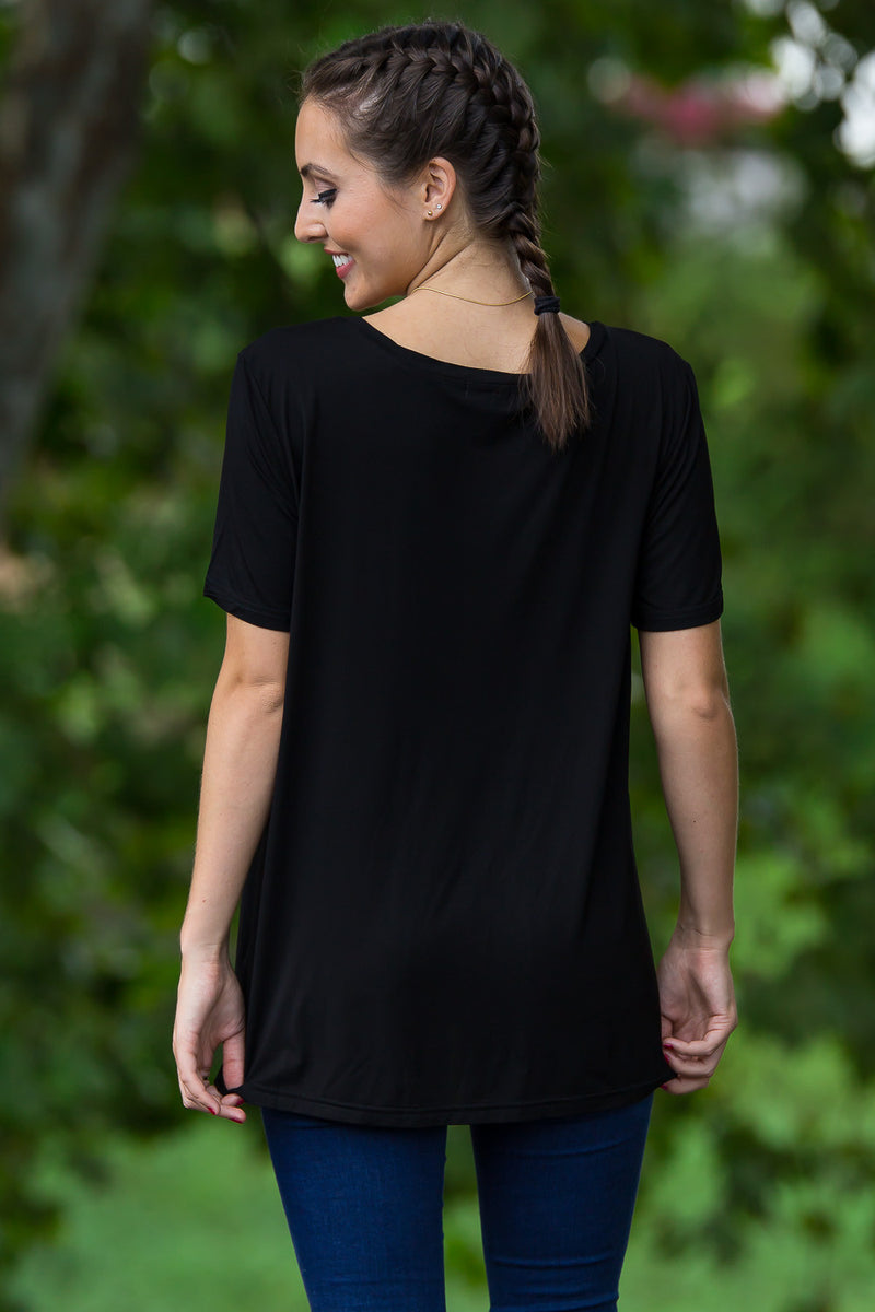 Short Sleeve Round Neck Piko Tee-Black