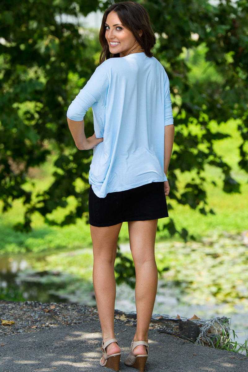 The Perfect Piko 3/4 Sleeve Top-Light Blue