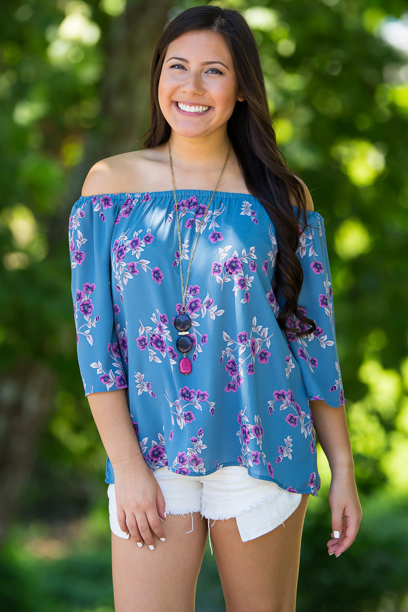 Smell The Roses-Cameron Floral Top-Purple