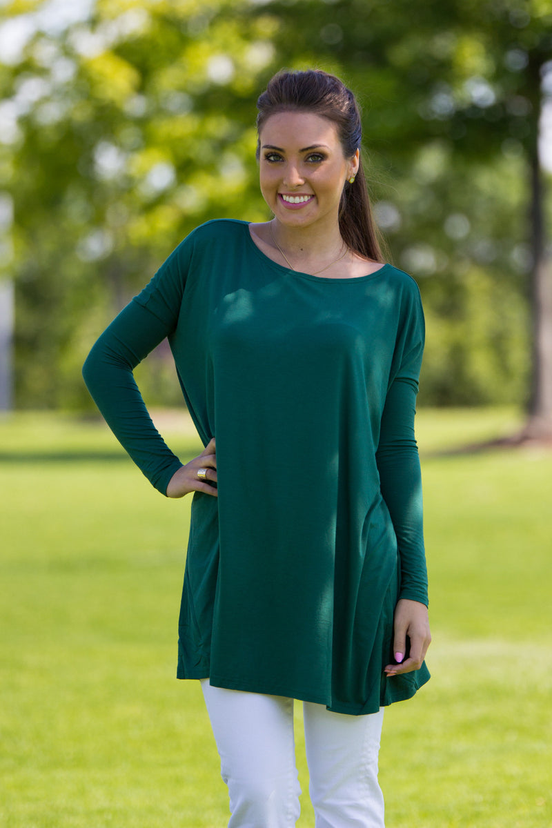 The Perfect Piko Tunic Top-Forest Green