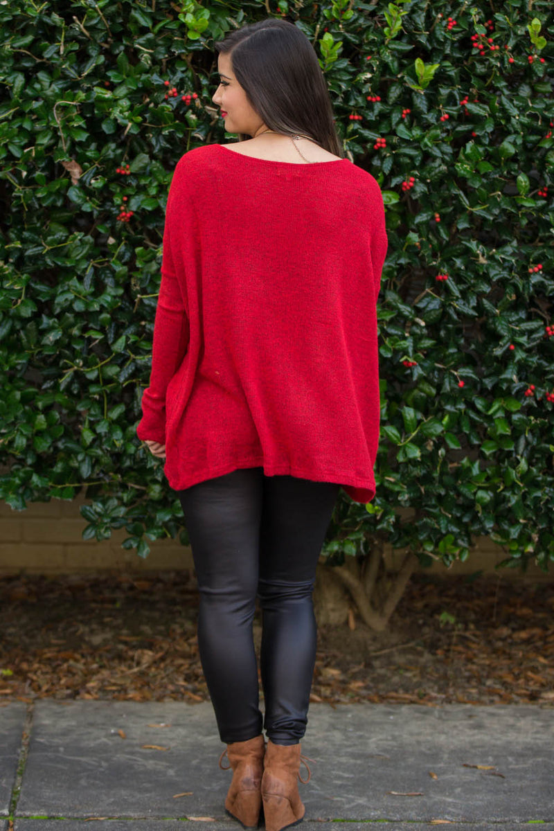 The Perfect Piko Sweater Top-Red