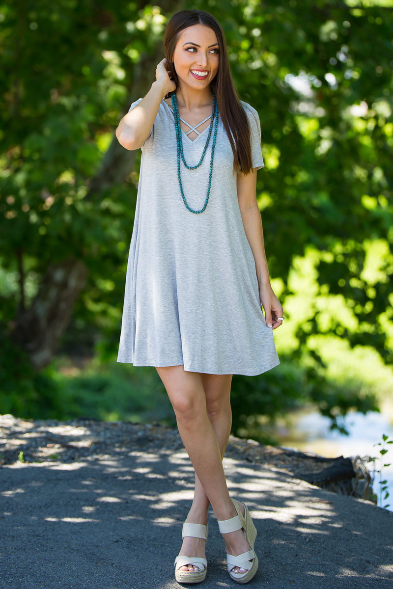 Double Sided Dress-Heather Grey