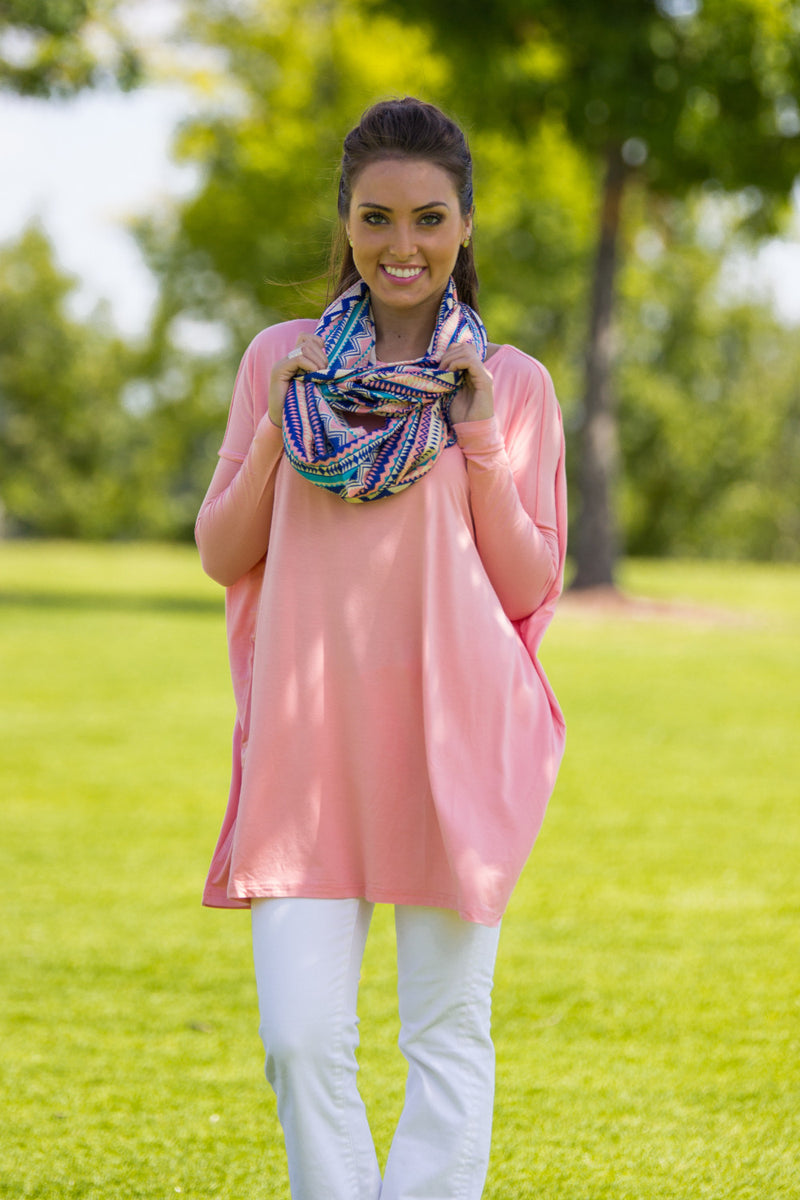 The Perfect Piko Tunic Top-Peach