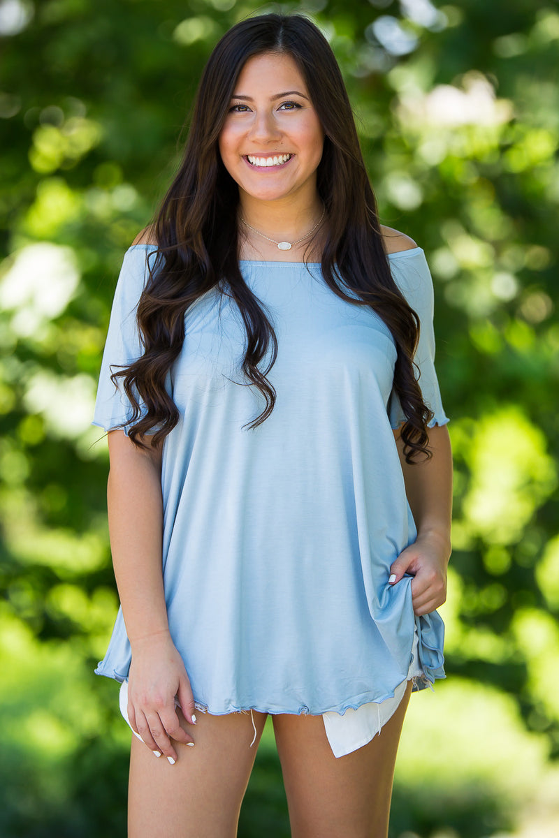 The Perfect Piko Off The Shoulder Top- Quiet Blue