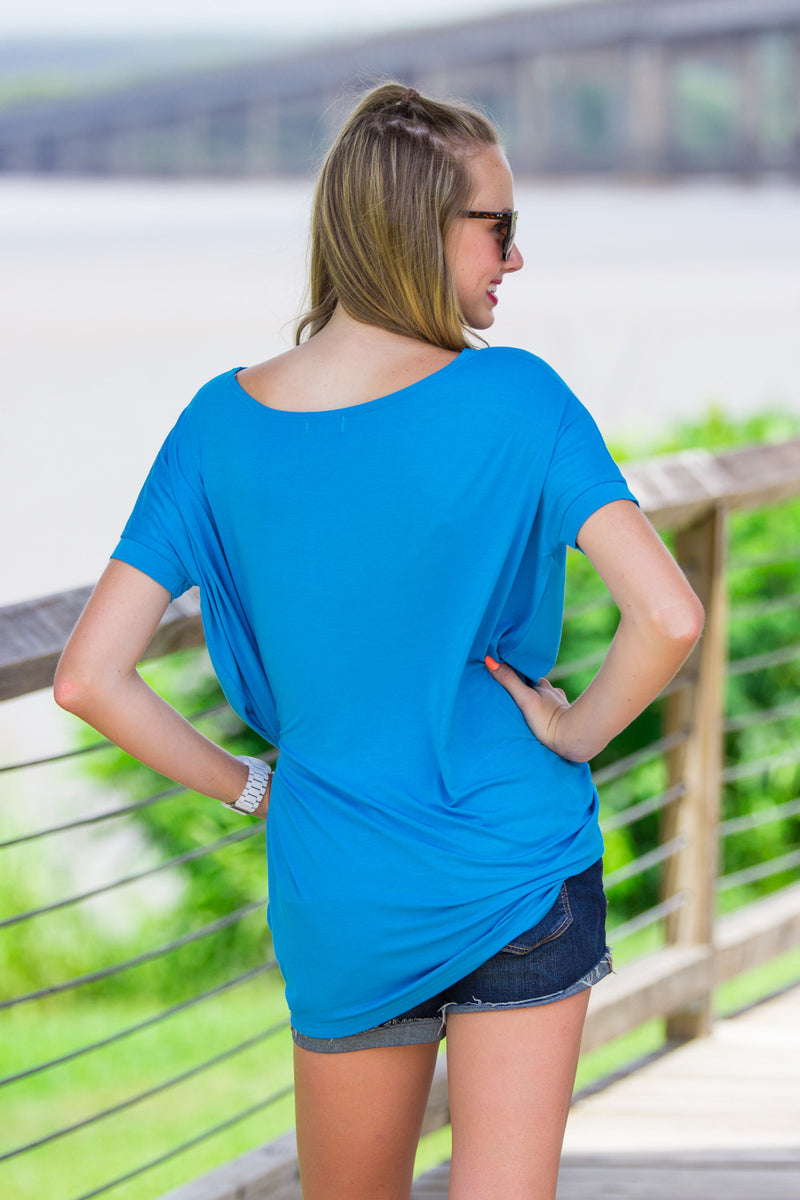 The Perfect Piko Short Sleeve Tunic-Dazzling Blue