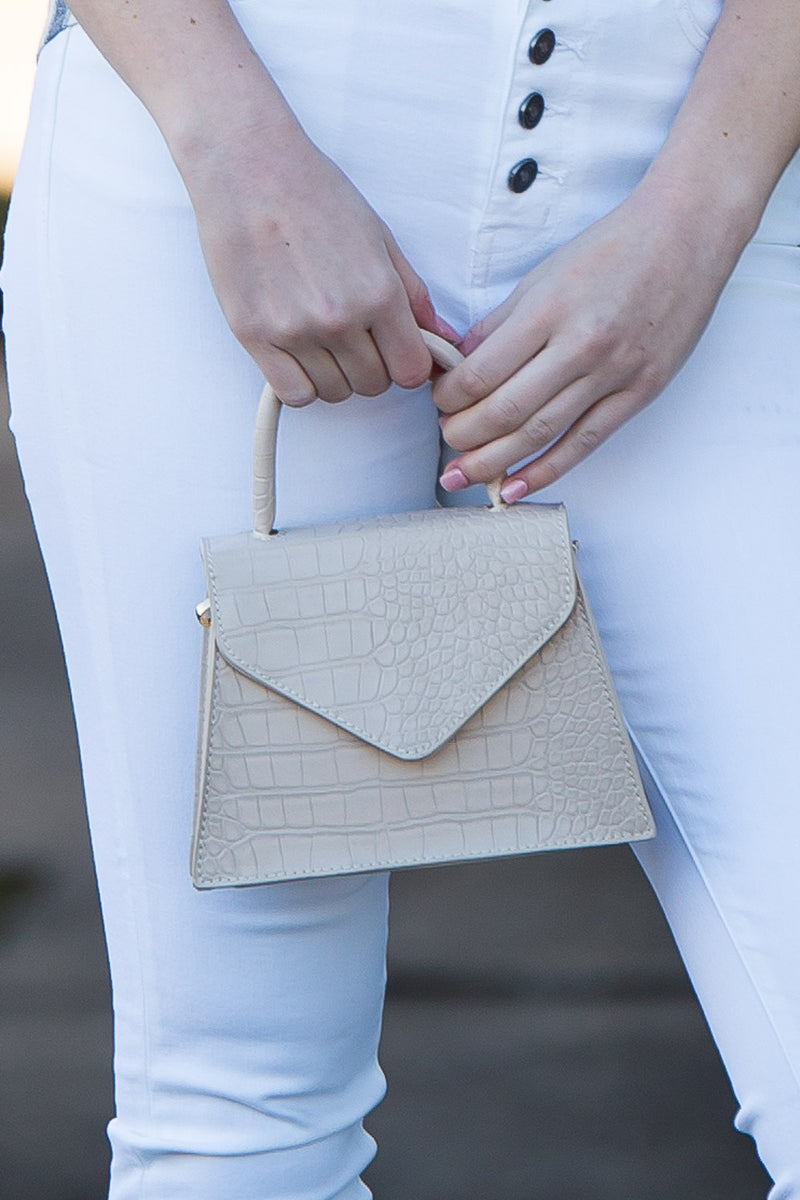 Ivory Structured Mini Satchel With Piped Handle
