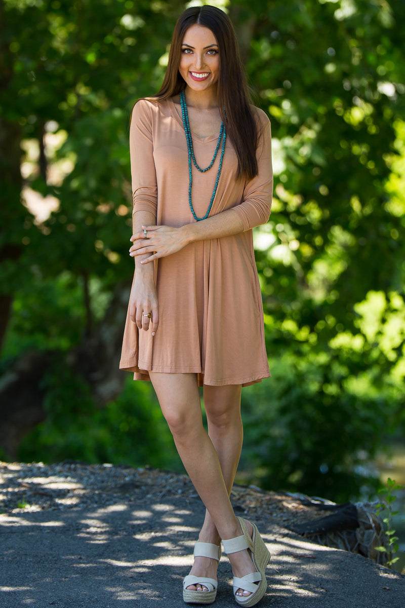 The Perfect Piko 3/4 Sleeve V-Neck Swing Dress-Mocha