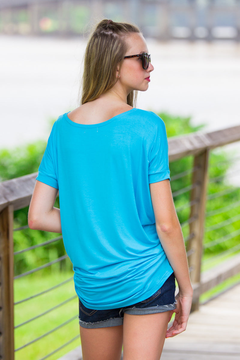 The Perfect Piko Short Sleeve Tunic-Sky Blue