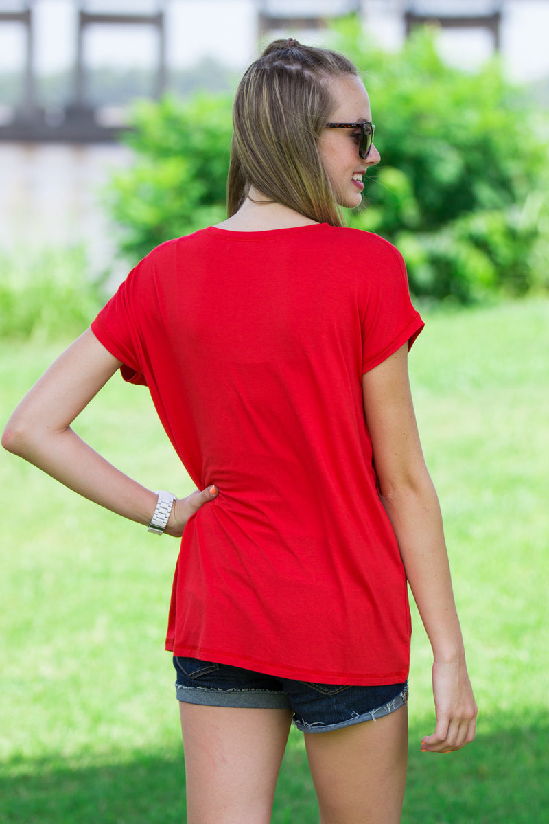 The Perfect Piko Rolled Short Sleeve Top-Red