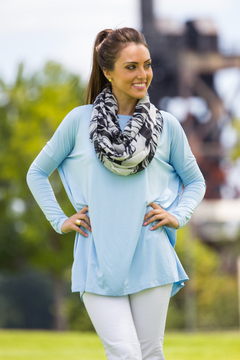 The Perfect Piko Tunic Top-Light Blue