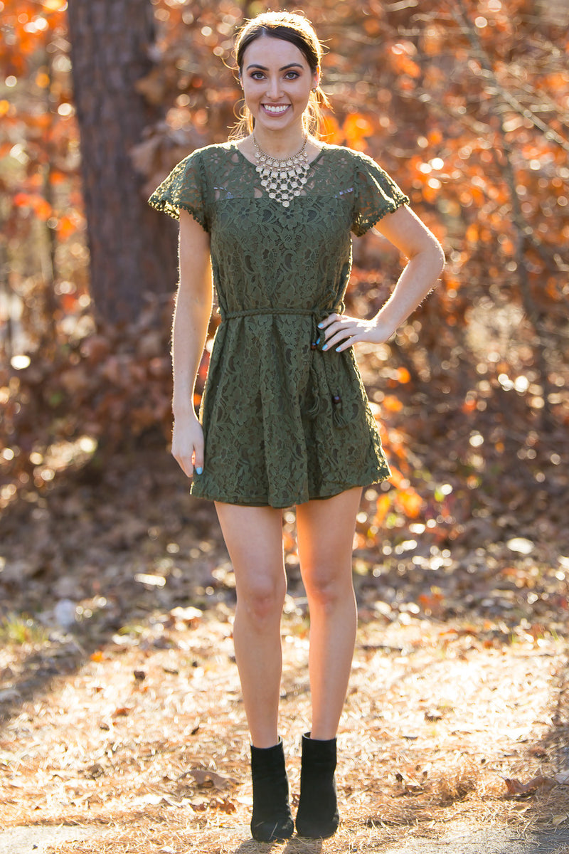 Wander Away Dress-Olive