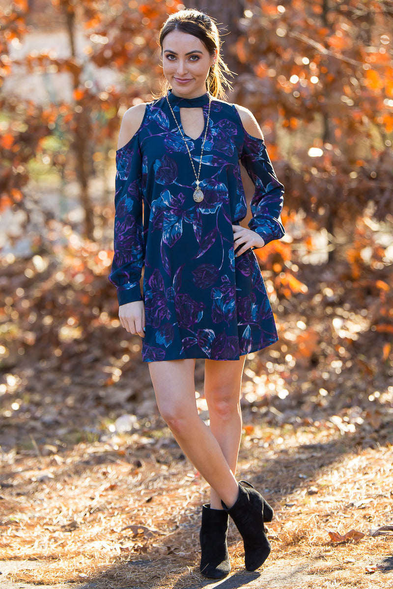 SALE-Everly-The Key Person Dress-Dark Teal/Purple