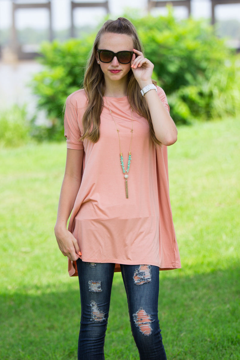 The Perfect Piko Short Sleeve Tunic-Dark Peach
