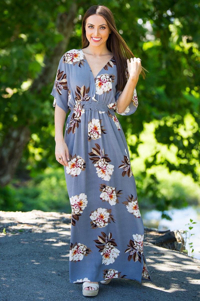 Stop And Stare Maxi Dress-Cool Grey/Multi
