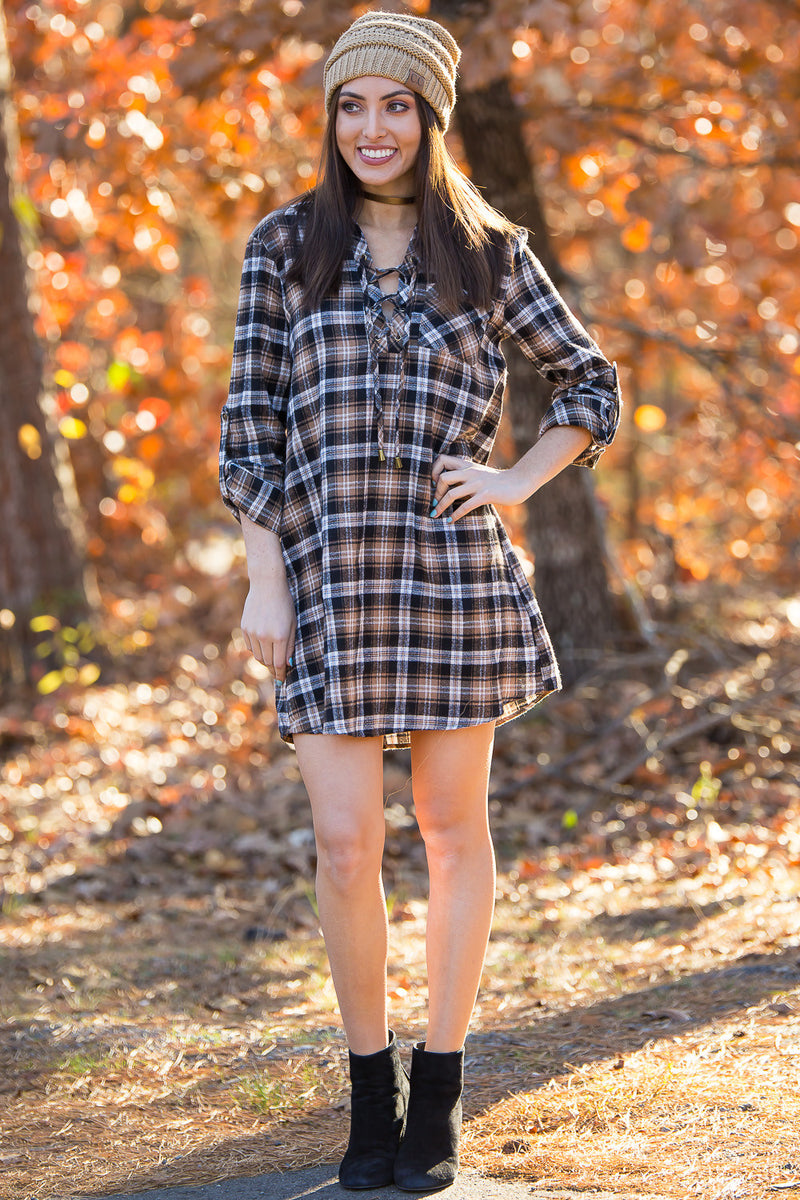 SALE- Play On Plaid Dress-Brown