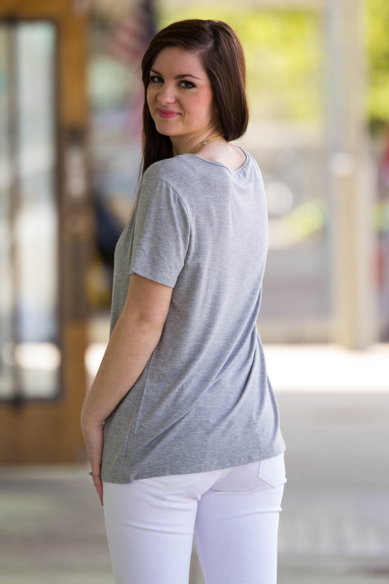 Short Sleeve V-Neck Piko Tee-Heather Grey