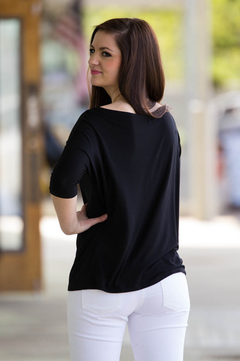 The Perfect Piko 3/4 Sleeve Slim Fit Top-Black