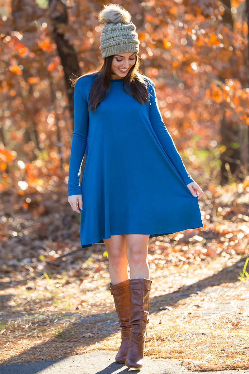 The Perfect Piko Long Sleeve Swing Dress-Indigo