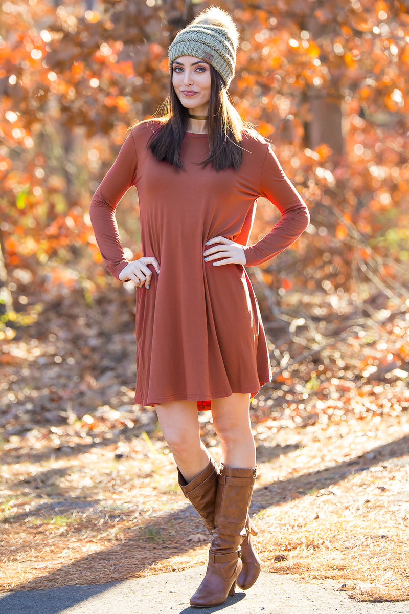 The Perfect Piko Long Sleeve Swing Dress-Rust