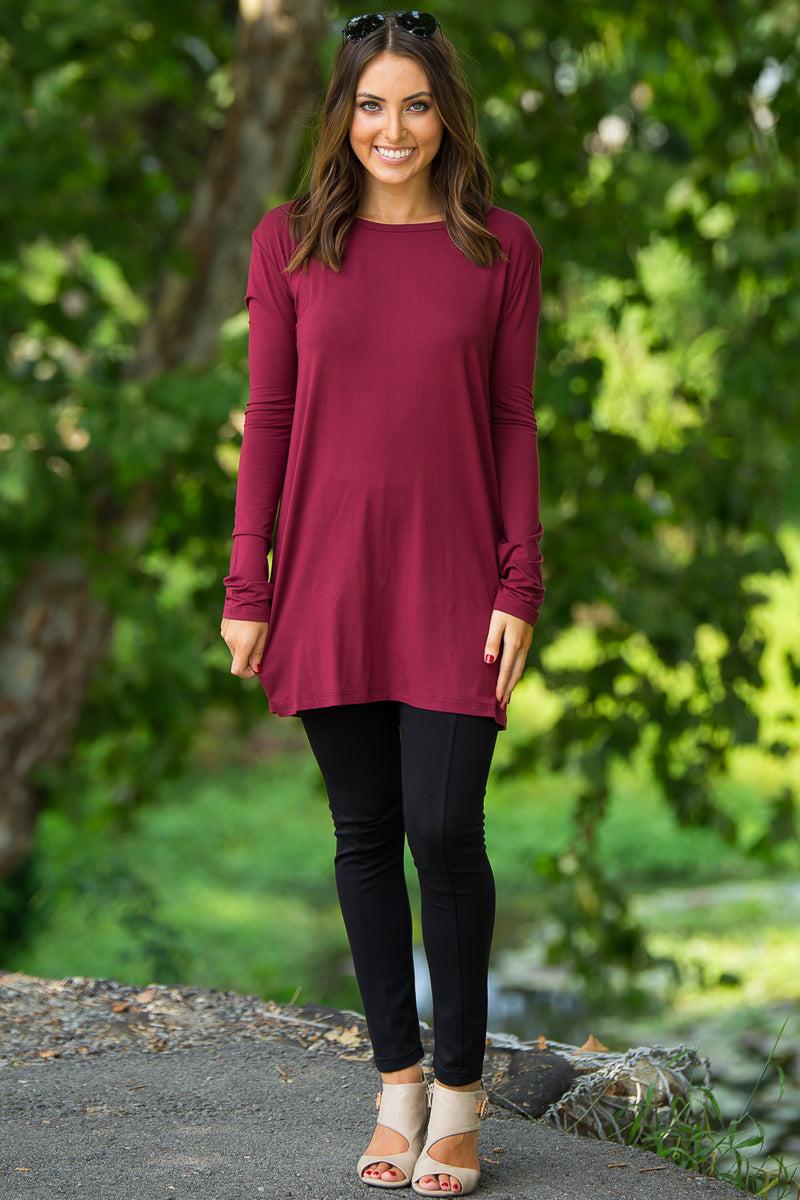 The Perfect Piko Slim Fit Top-Wine