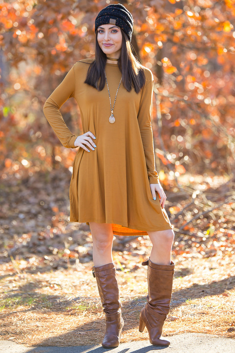 The Perfect Piko Long Sleeve Swing Dress-Dark Mustard