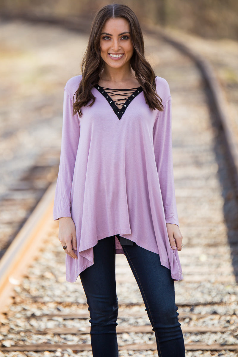 SALE- Once In A While Top-Mauve