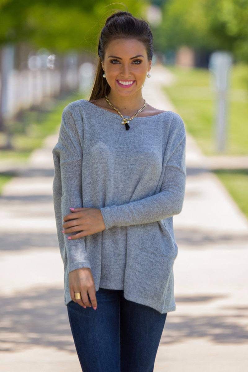 The Perfect Piko Sweater Top-Grey