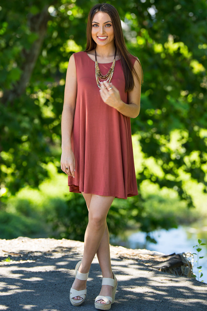 The Perfect Piko Sleeveless Swing Dress-Marsala