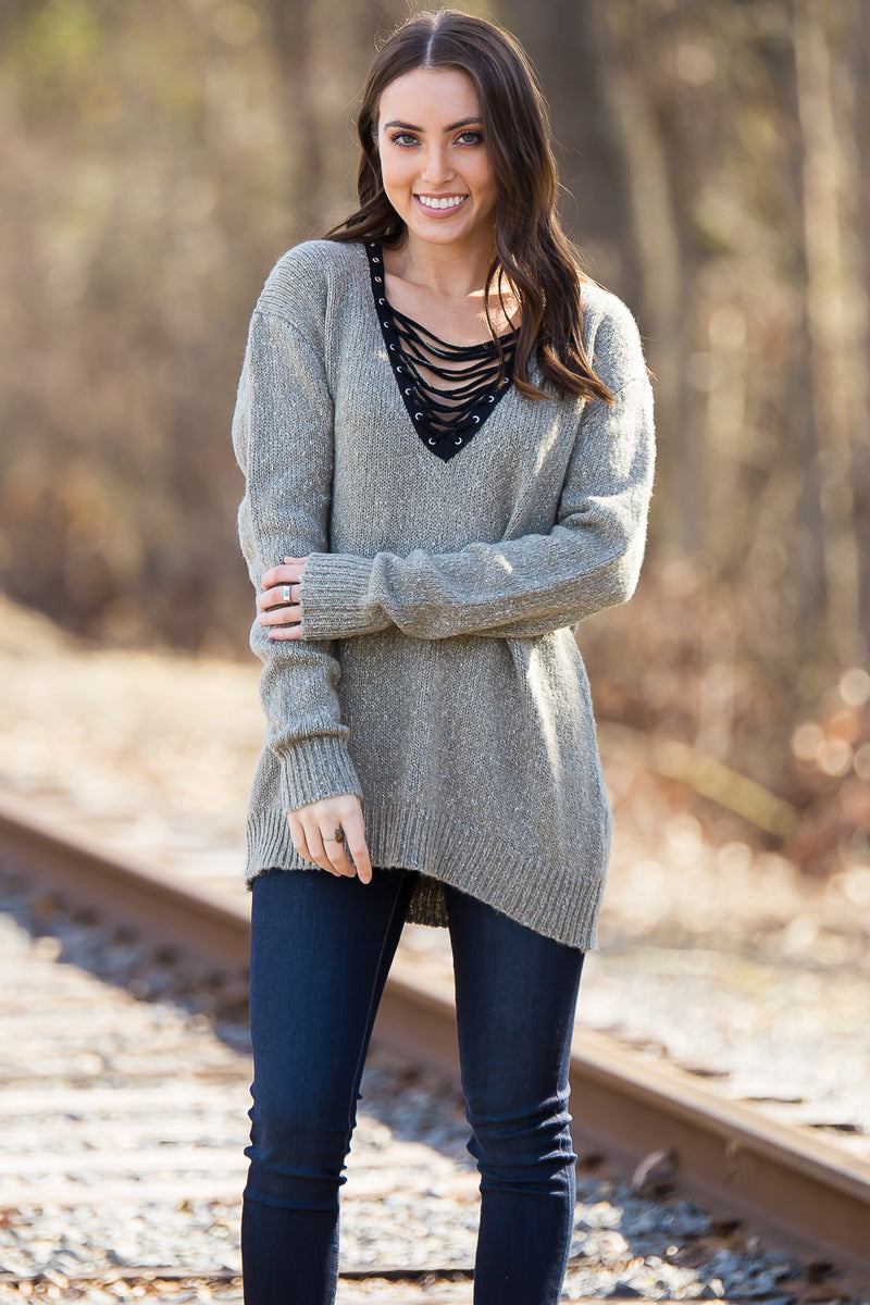 SALE- The Endless V Sweater Top-Olive